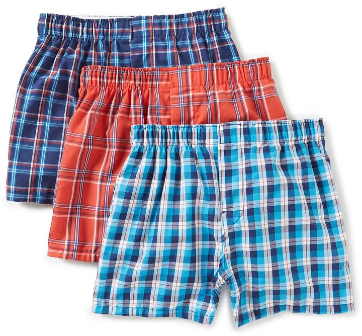 Boys 3-Pack Plaid Woven Boxers