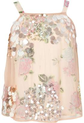 River Island Girls pink sequin embellished cami top