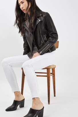 Topshop White Let Hem Leigh Jeans
