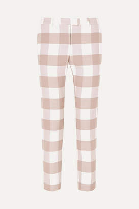 Altuzarra Cropped Gingham Wool-blend Twill Skinny Pants - Beige