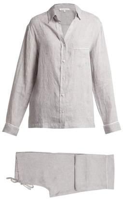 Pour Les Femmes - Linen Pyjama Set - Womens - Grey Multi