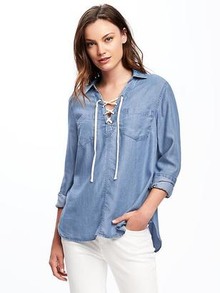 Classic Lace-Up Tencel® Shirt for Women $34.94 thestylecure.com