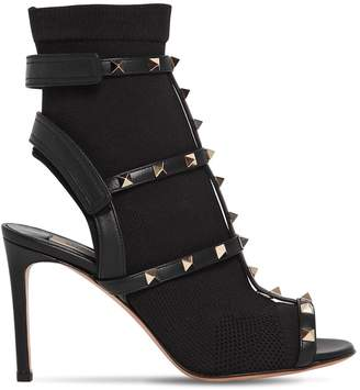 Valentino 90MM TECH KNIT OPEN TOE BOOTS