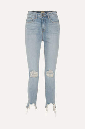 L'Agence The High Line Cropped Distressed High-rise Skinny Jeans - Light denim