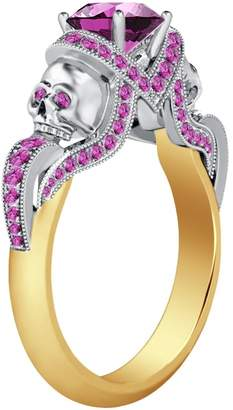 Smjewels 14K Yellow & Gold PL Engagement Two Skull Design Ring 1.52Ct Pink Sapphire CZ