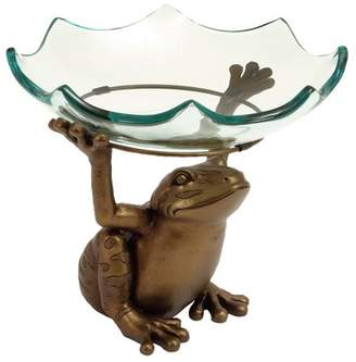 DecMode Decmode 10 X 12 Inch Traditional Glass Serving Bowl With A Resin Toad Stand, Gold