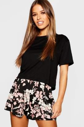 boohoo Petite Basic Jersey Cropped PJ T-Shirt