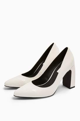 Topshop Womens Golly White Elongate Court Heels - White