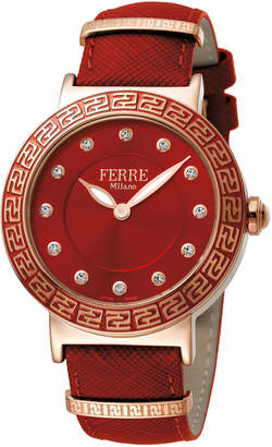 Ferré Milano Women's 38mm Stainless Steel Watch with Leather Strap, Rose/Red