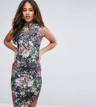 Paper Dolls Tall High Neck Floral Crochet Lace Pencil Dress