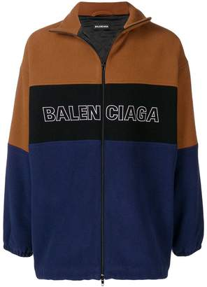 Balenciaga logo panelled zip jacket