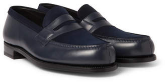 J.M. Weston Leather And Suede Penny Loafers