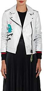 "Mira Mikati WOMEN'S ""WHATEVER"" METALLIC LEATHER MOTO JACKET-SILVER SIZE 40 FR"