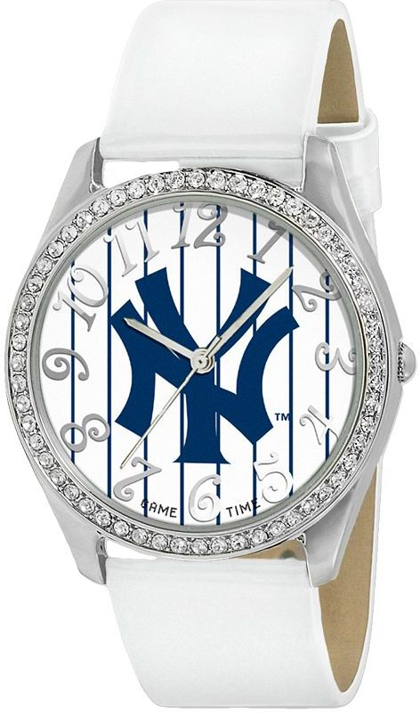 Game Time Glitz New York Yankees Silver Tone Crystal Watch - MLB-GLI-NY3 - Women