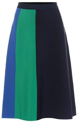 Tory Sport Color-blocked midi skirt