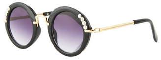 Bari Lynn Girls' Round Gradient Sunglasses w/ Simulated Pearls