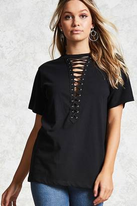 FOREVER 21+ Lace-Up Front Tee $10 thestylecure.com