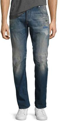 G Star G-Star Arc 3D Slim Distressed Patch Jeans, Medium Vintage Blue