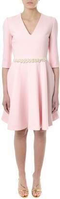 Lanvin Embellished Pink Wool Flared Dress