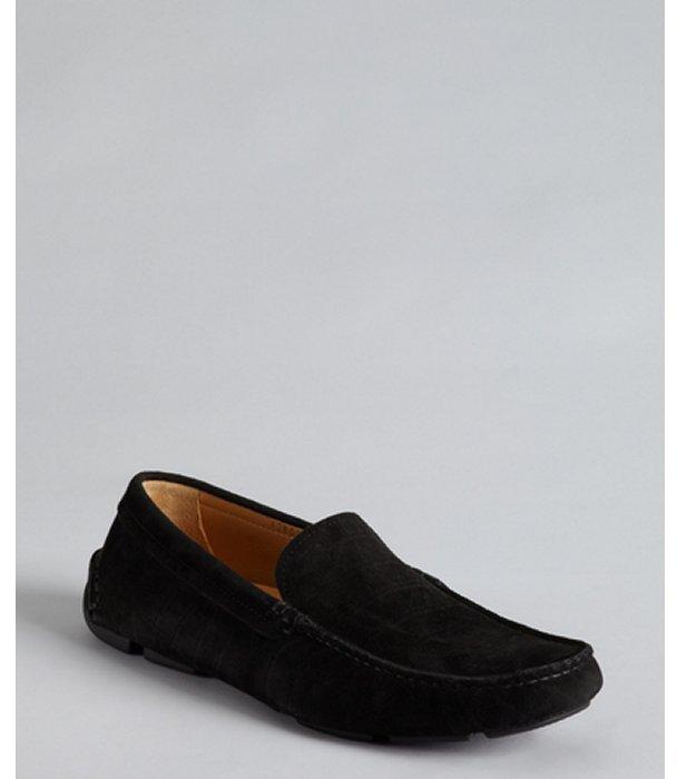 Giorgio Armani black snake embossed suede moc toe loafers
