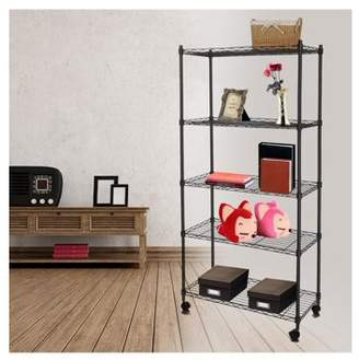 Unbrand Homdox Adjustable 5-Tier Wire Muscle Rack Shelving with Wheels for Kitchen Bedroom Garage