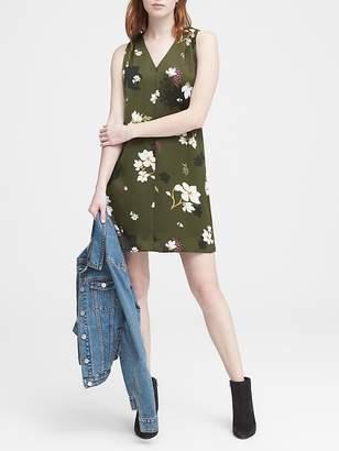 Banana Republic Petra Floral Pleated-Shoulder Shift Dress