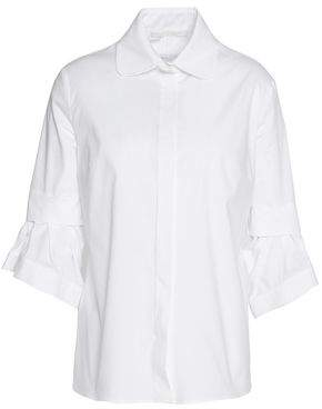 Antonio Berardi Pleated Cotton-Blend Poplin Shirt