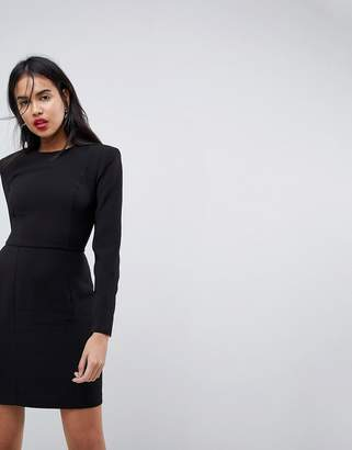 Asos DESIGN shoulder pad mini dress with seams