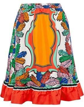 Emilio Pucci Fluted Printed Silk-Twill Skirt