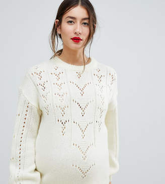 Asos (エイソス) - Asos Maternity ASOS DESIGN Maternity Sweater In Fluffy With Lace Stitch