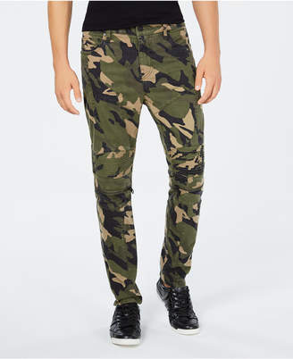 GUESS Men's Carter Stretch Camouflage Moto Pants