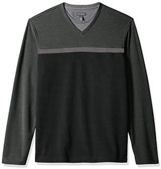 Van Heusen Men's Long Sleeve Jaspe Stripe Doubler V-Neck Shirt