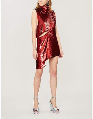 HALPERN Asymmetric sequinned mini dress