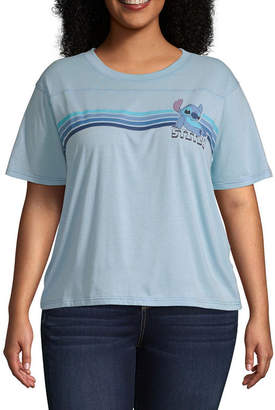 81aa4c8075e Disney Womens Round Neck Short Sleeve Lilo   Stitch Graphic T-Shirt-Juniors  Plus
