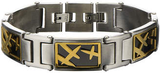 JCPenney FINE JEWELRY Mens Two-Tone Stainless Steel Link Bracelet