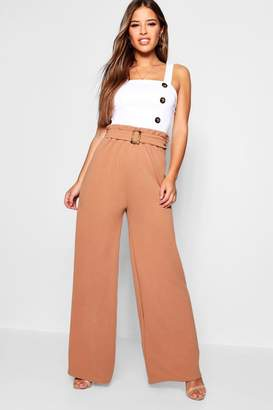 boohoo Petite Buckle Detail High Waisted Trouser