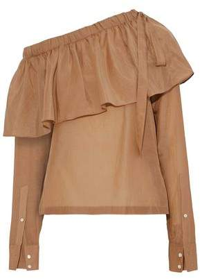 Robert Rodriguez Layered Off-The-Shoulder Cotton And Silk-Blend Top