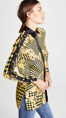 Versace Print Button Shoulder Blouse