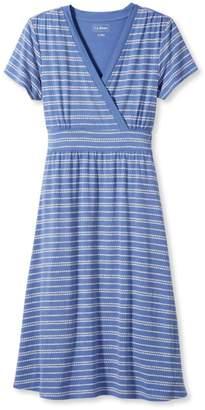 L.L. Bean L.L.Bean Summer Knit Dress, Short-Sleeve Pebble Stripe Print