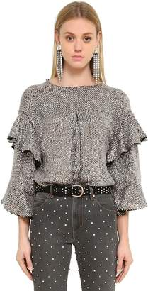 Isabel Marant Ruffled Sequined Organza Top