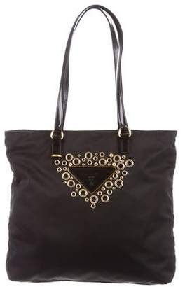 Prada Grommet-Embellished Tessuto Shoulder Bag