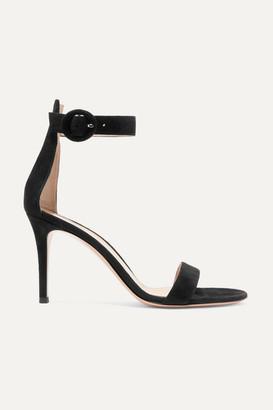 Gianvito Rossi Portofino 85 Suede Sandals - Black