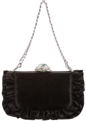 Judith Leiber Ruffle-Accented Satin Evening Bag $425 thestylecure.com