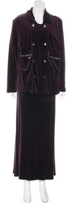 Sonia Rykiel Structured Velvet Skirt Suit Purple Structured Velvet Skirt Suit