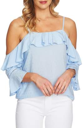 CeCe Ruffled Cold Shoulder Blouse