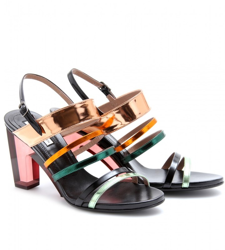 Dries Van Noten MIRRORED METALLIC SANDALS WITH PLEXIGLAS HEEL