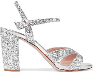 Miu Miu Crystal-embellished Glittered Leather Sandals - Silver
