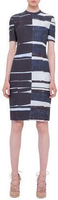 Akris punto Short-Sleeve Brushstroke Sheath Dress, Multi Colors $1,490 thestylecure.com