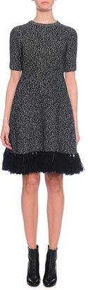 Dolce & Gabbana Jewel-Neck Cashmere Dress w/Fringe Hem