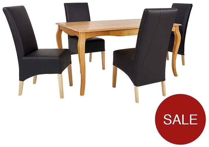 Alisha 150 Cm Solid Wood Dining Table + 4 Eternity Chairs